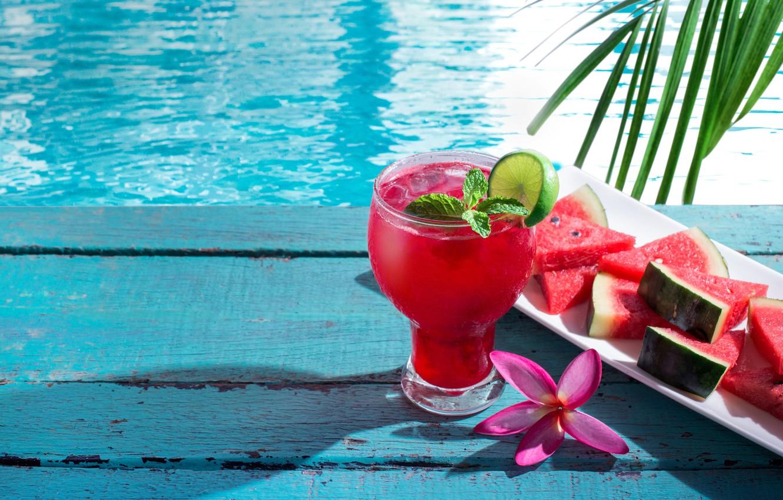 Фото обои арбуз, сок, коктейль, summer, fresh, drink, watermelon, tropical, slice