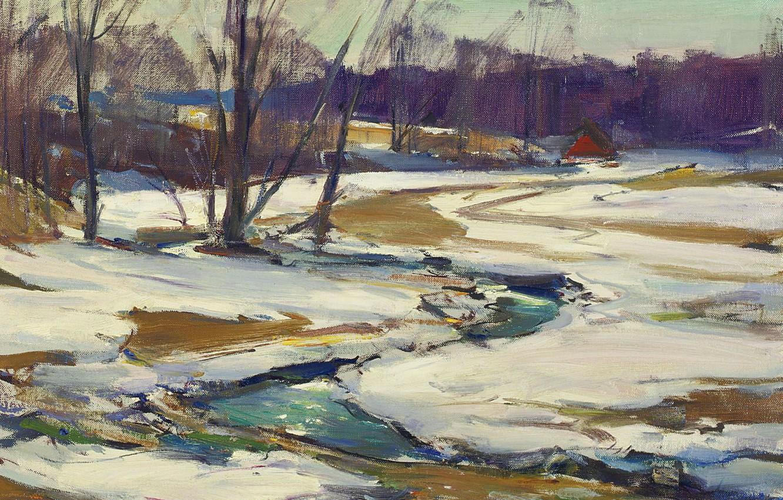 Фото обои пейзаж, природа, картина, импрессионизм, Ручей и Тающий Снег, Carl William Peters