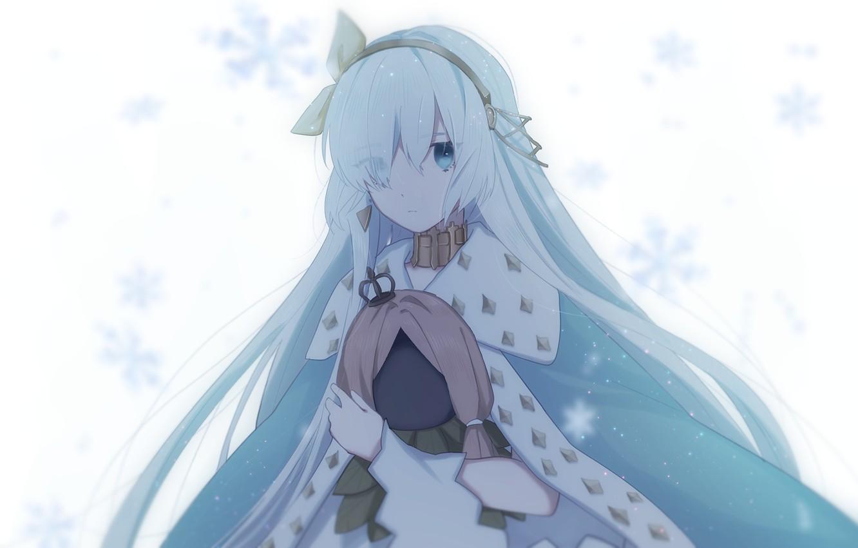 Фото обои взгляд, девушка, снежинки, Fate / Grand Order