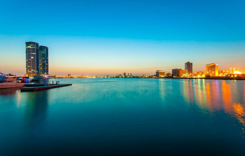 Фото обои море, ночь, огни, skyline, ОАЭ, UAE, Ras al Khaimah