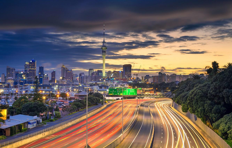 Обои окленд, Вечер, огни, Новая Зеландия. Города foto 11