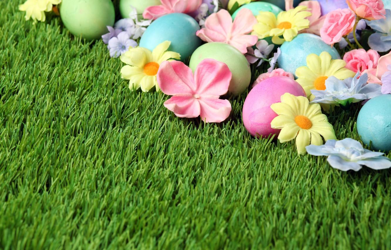 Фото обои трава, цветы, Пасха, flowers, spring, Easter, eggs, Happy, яйца крашеные