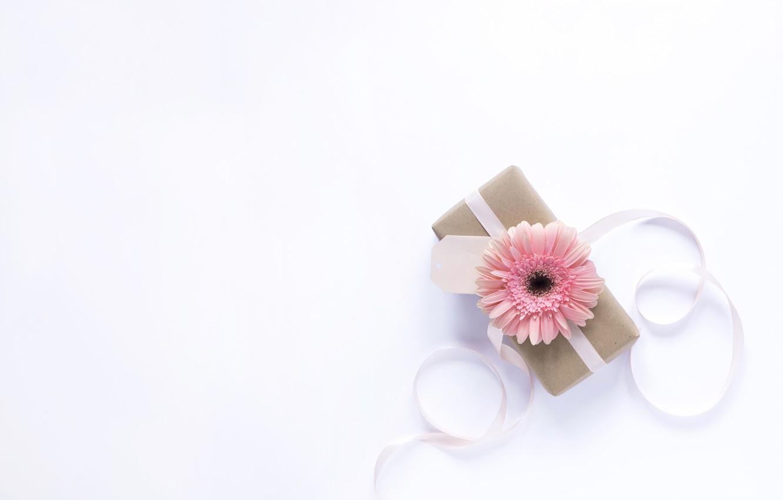 Фото обои цветок, праздник, подарок, лента, box, present, Mothers day