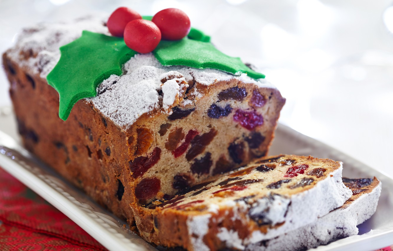 Фото обои Рождество, пирог, Christmas, cake, выпечка, сладкое, декор, изюм, baking, сухофрукты