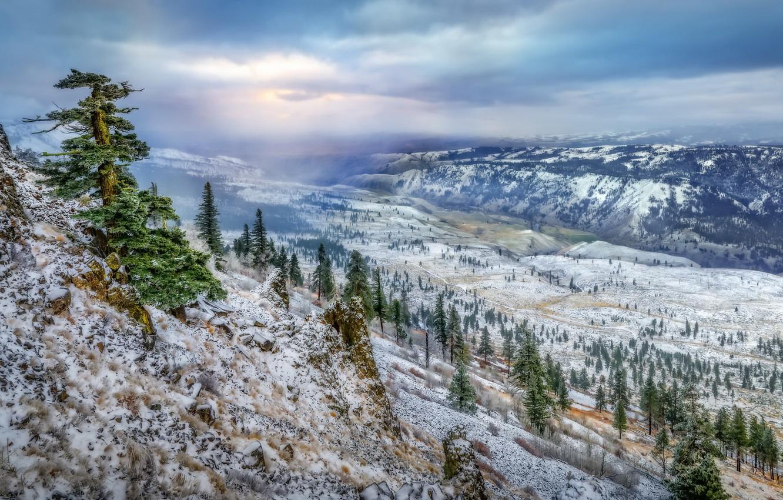 Фото обои зима, природа, гора, долина