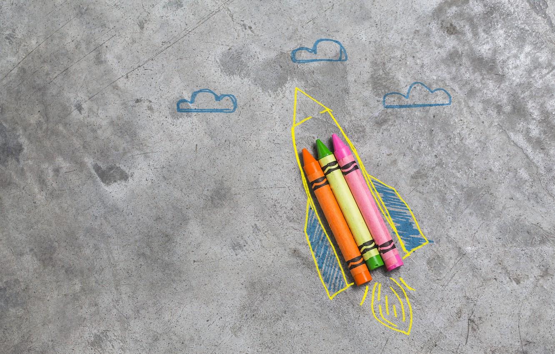 Обои фломастеры, рисунок, Ракета. Минимализм foto 6