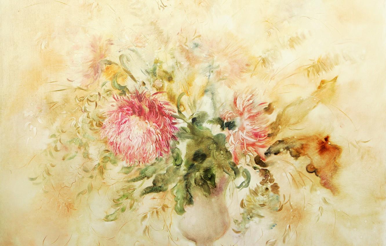 Фото обои цветы, ваза, Flowers, Натюрморт, хризантема, Сфумато, сувенирная живопись, Петренко Светлана