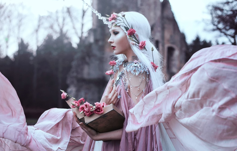 Фото обои девушка, украшения, цветы, книга, Bella Kotak, Sweet blush of rose, Maria Amanda Lindqvist Thomassen
