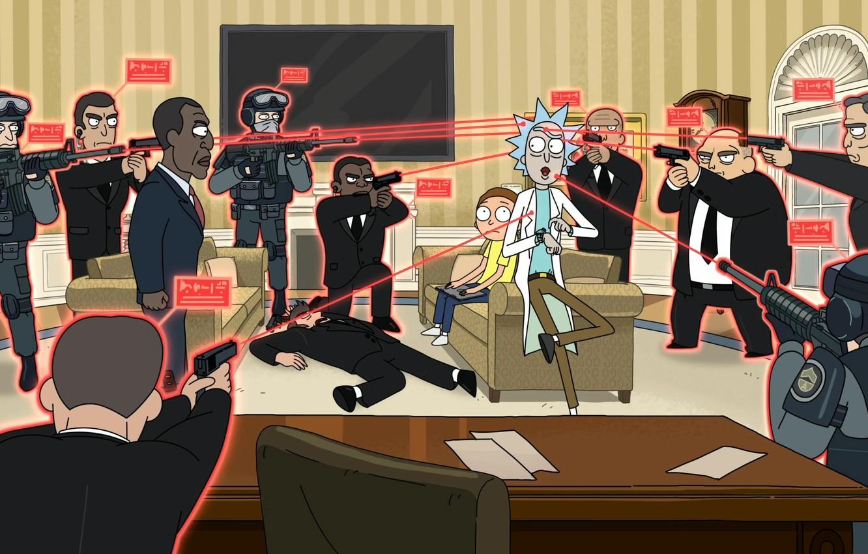 Фото обои Оружие, Президент, мульт-сериал, Guns, Мультфильм, Cartoon, President, Rick and Morty, Рик и Морти, The White …