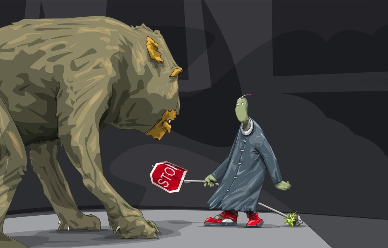 Фото обои страх, животное, монстр, хищник, шерсть, инопланетянин, пришелец, дорожный знак, черный плащ