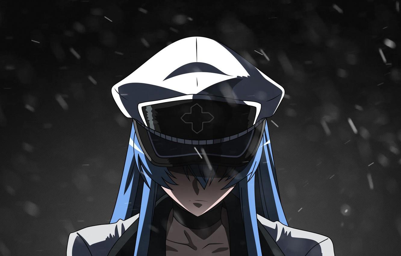 Фото обои холод, снег, злость, фуражка, в темноте, наемница, Akame ga Kill, Esdeath, Убийца Акаме