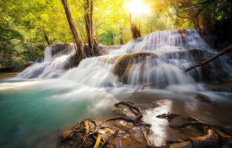 Фото обои Таиланд, речка, Thailand, Huai Mae Khamin, водопапд