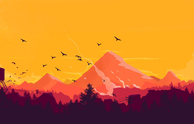 Обои на стену горы на закате