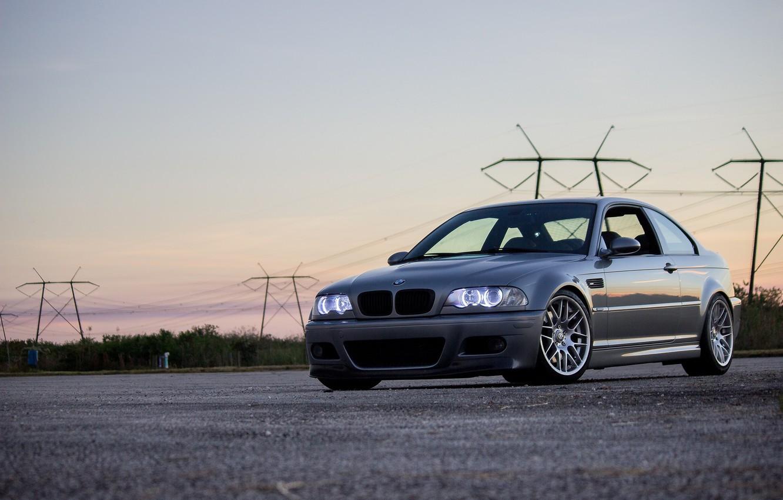 Фото обои BMW, Light, Sunset, E46, Evening, Silver, Sight, Angel Eye