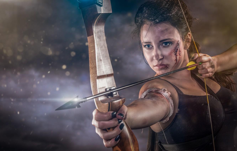 Фото обои девушка, лук, стрела, тетива, рана, Abel Tonkens
