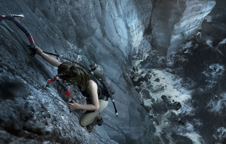 Фото обои волосы, гора, Tomb Raider, Лара Крофт, ледокол, Shadow of the Tomb Raider