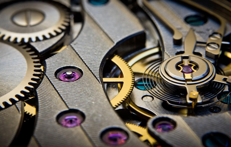 Фото обои техно, часы, механизм, шестеренка
