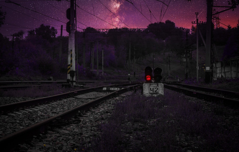 Фото обои космос, закат, светофор, сталкер, днепр, spacebit, днепропетровск, жд пути, жд дорога