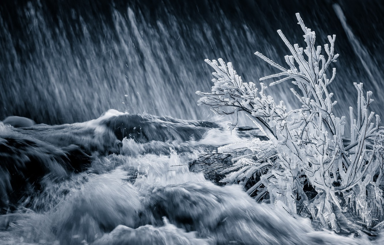 Фото обои зима, река, лёд, поток