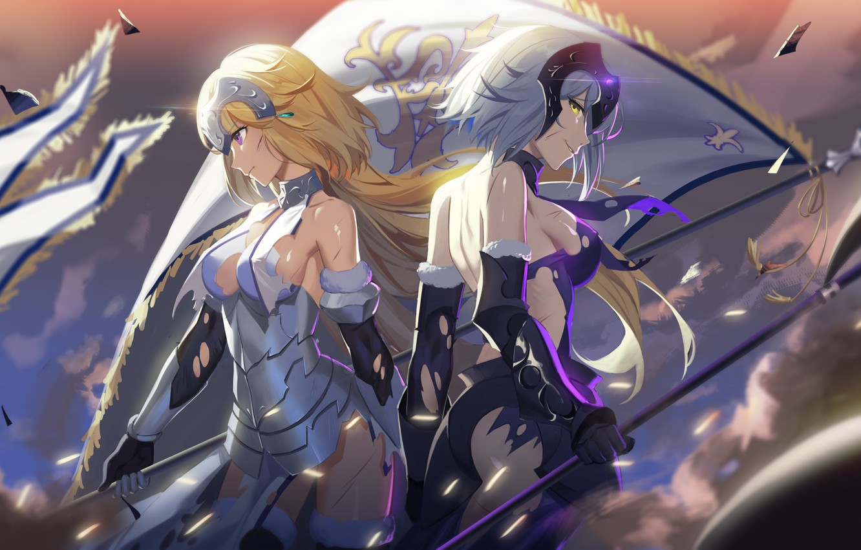 Фото обои armor, long hair, dress, anime, short hair, purple eyes, dust, flag, blonde, wind, warrior, smiling, …