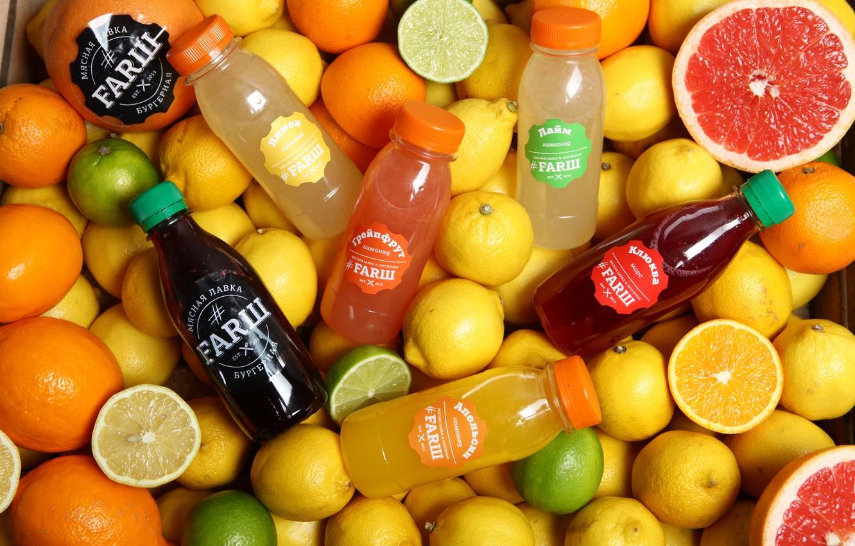 Фото обои лимон, апельсин, сок, напиток, цитрусы, грейпфрут