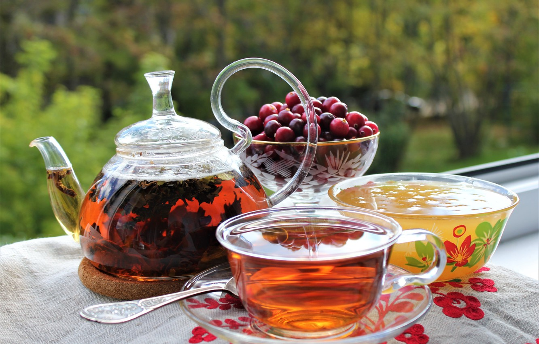 Обои клюква, Заварник, мёд, чай. Еда foto 6