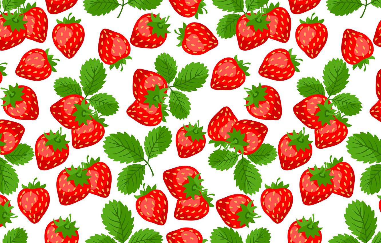 Фото обои листья, красный, ягоды, клубника
