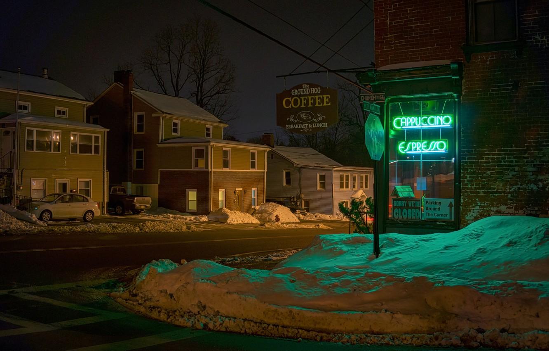 Фото обои зима, город, улица, вечер, Ground Hog Cafe, Wappingers Falls, West Main St