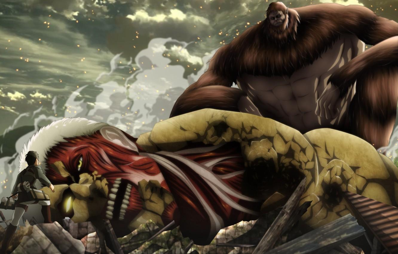 Фото обои big, anime, asian, giant, manga, oriental, asiatic, Shingeki no Kyojin, Season 2, Attack On Titan, …