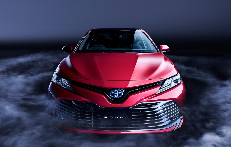 Фото обои Toyota, Front, Smoke, RED, Camry, Sight, XV70