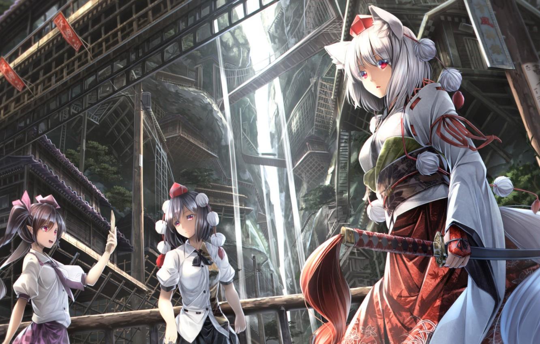 Фото обои девушка, город, девушки, аниме, арт, touhou проекта
