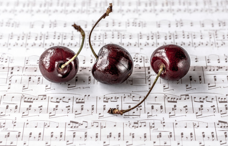 Фото обои вишня, ягоды, ноты