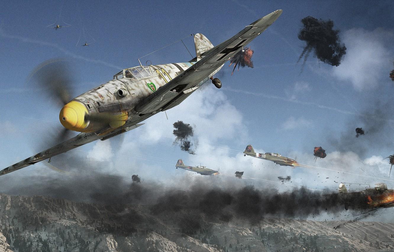 Фото обои горы, бой, сражение, самолёты, Yak-9u Vs Bf 109G 6