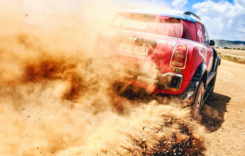 Фото обои Песок, Авто, Mini, Пыль, Спорт, Машина, Скорость, Камни, Гонка, Занос, Rally, Внедорожник, Ралли, X-Raid Team, …