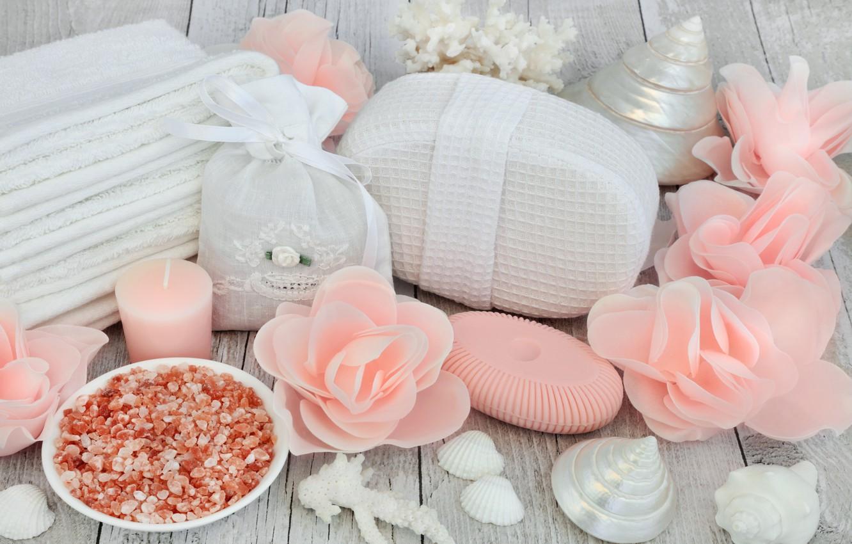 Обои Seashells, Spa, salt, still life, ракушки, соль, wellness. Разное foto 9