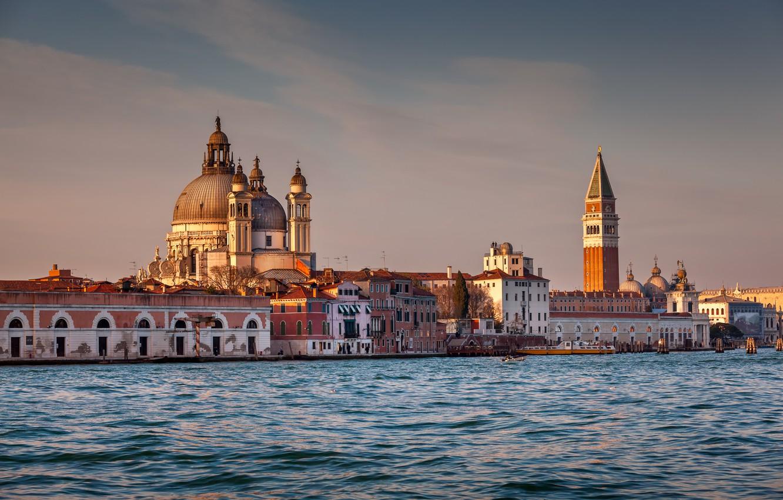 Фото обои Италия, Венеция, Italy, evening, Venice, panorama view, Santa Maria della Salute Church