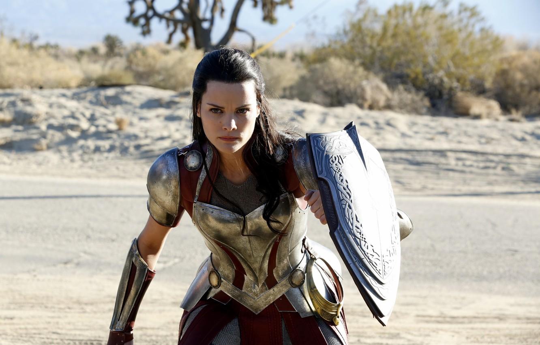 Фото обои wallpaper, girl, armor, woman, man, Marvel, fight, series, brunette, supernatural, hero, Thor, shield, warrior, angry, …