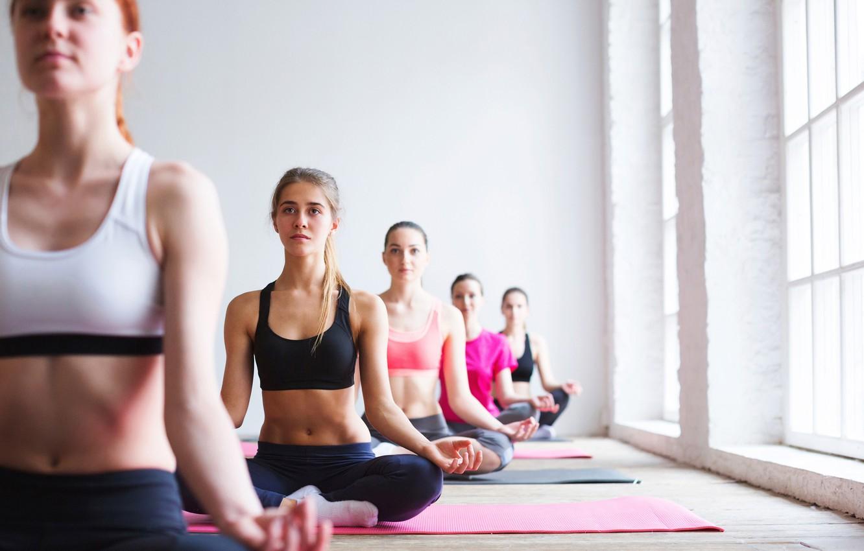 Фото обои pose, group, Yoga