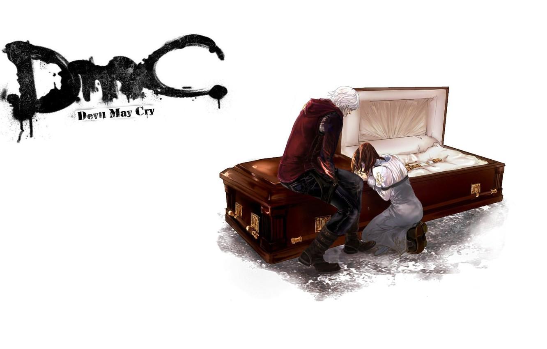Фото обои пустота, прощание, гроб, двое, слёзы, скорбь, Nero, Devil May Cry, на коленя, Дьявол может плакать, …