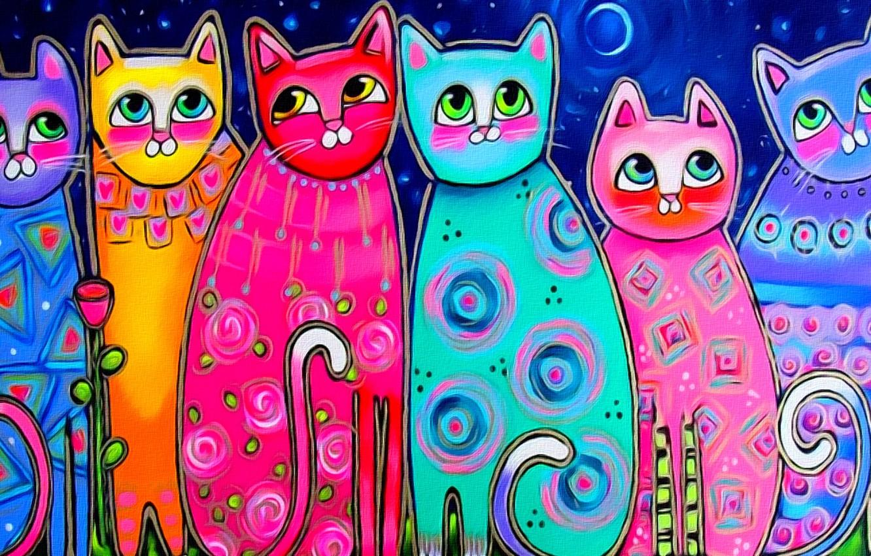 Фото обои глаза, кошки, настроение, луна, рисунок, весна, арт, живопись, хвосты, разноцветные коты