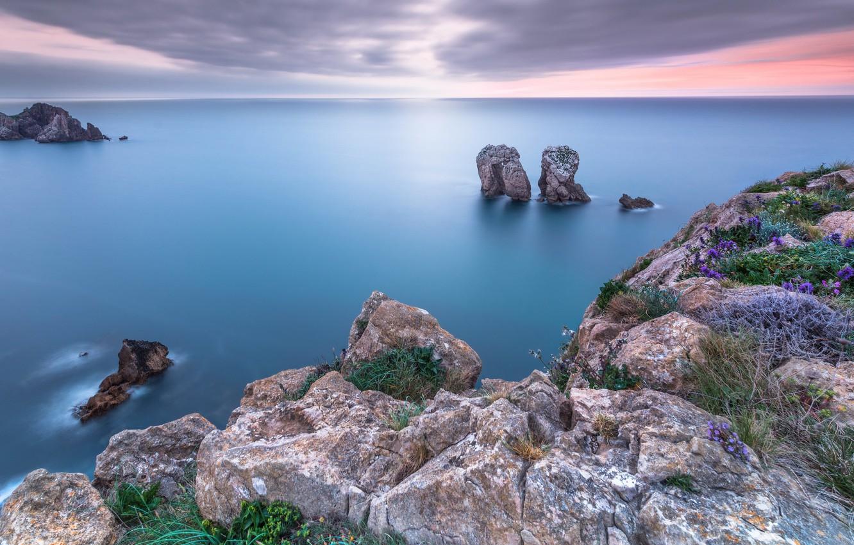 Фото обои sea, landscape, sunset, rocks, seasc