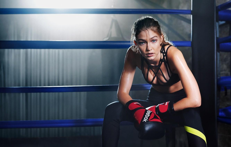 Фото обои модель, бокс, тренировка, Gigi Hadid