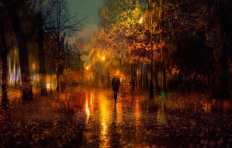 Фото обои осень, девушка, город, огни, зонтик, дождь, вечер, Санкт-Петербург, Россия