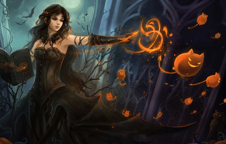 Фото обои девушка, фантастика, магия, арт, ведьма