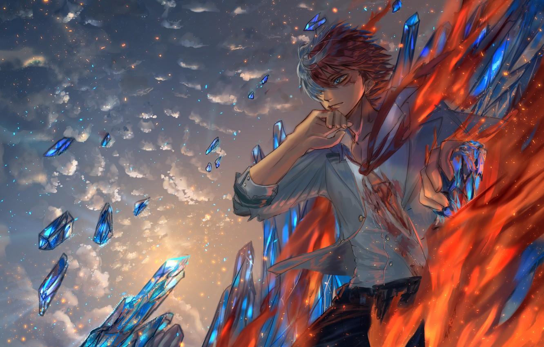 Фото обои огонь, лёд, парень, Boku no Hero Academia, Тодороки Шото