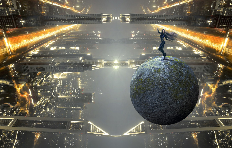 Фото обои девушка, свет, полет, ночь, город, огни, поза, туман, будущее, фантастика, здания, планета, шар, высота, небоскребы, …