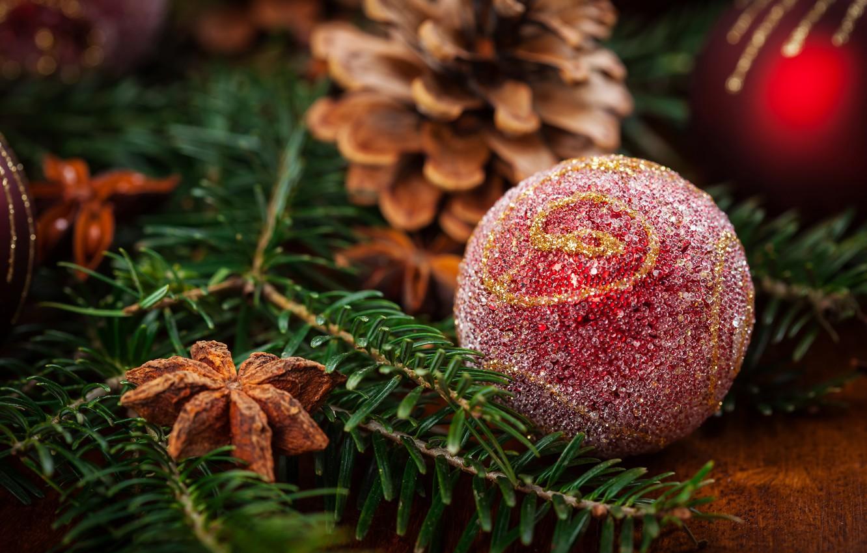 Фото обои праздник, игрушка, новый год, шар, ель, корица