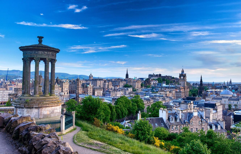 Обои Облака, эдинбург, Шотландия, свет, дома. Города foto 17
