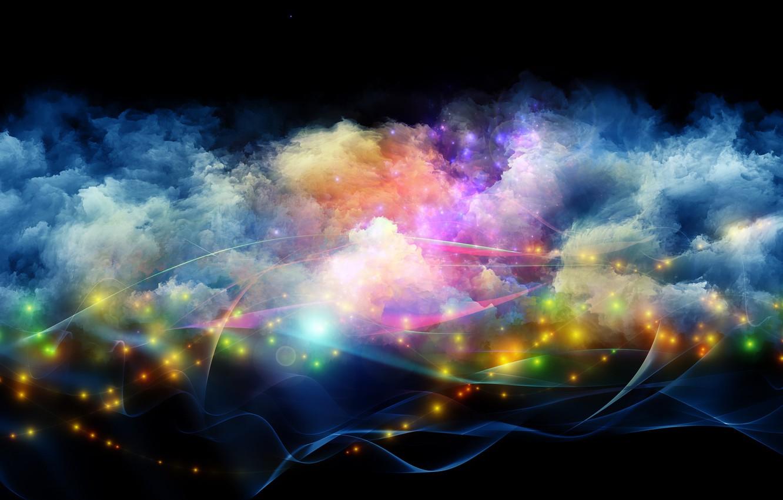 Фото обои Pink, Blue, Green, Black, Lights, White, Yellow, Smoke, Backgraund