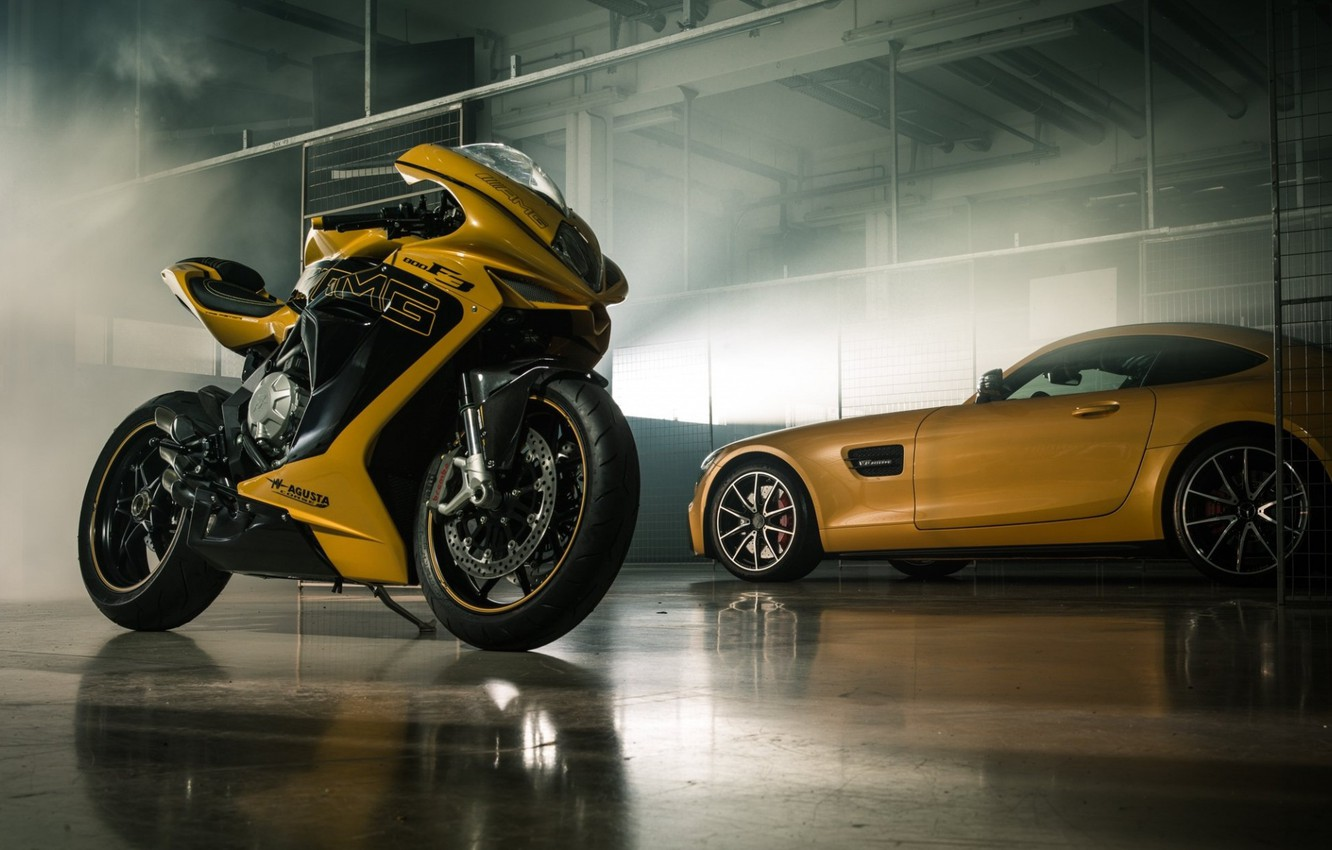 Фото обои Car, Italy, Yellow, Bike, Superbike, Mv Agusta